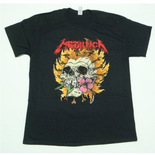 METALLICA Flower Skull Red Logo, Tシャツ