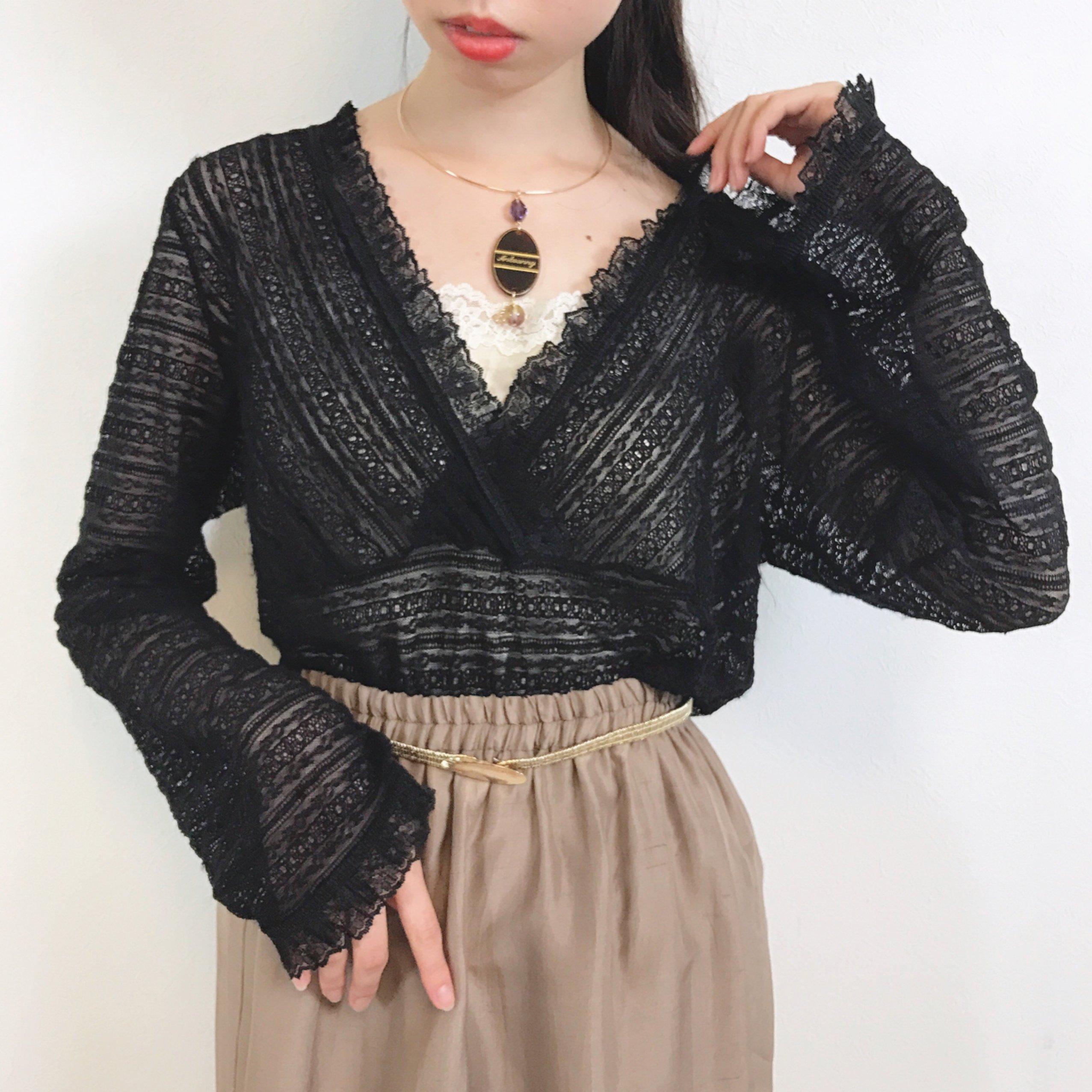 black stretch lace pullover