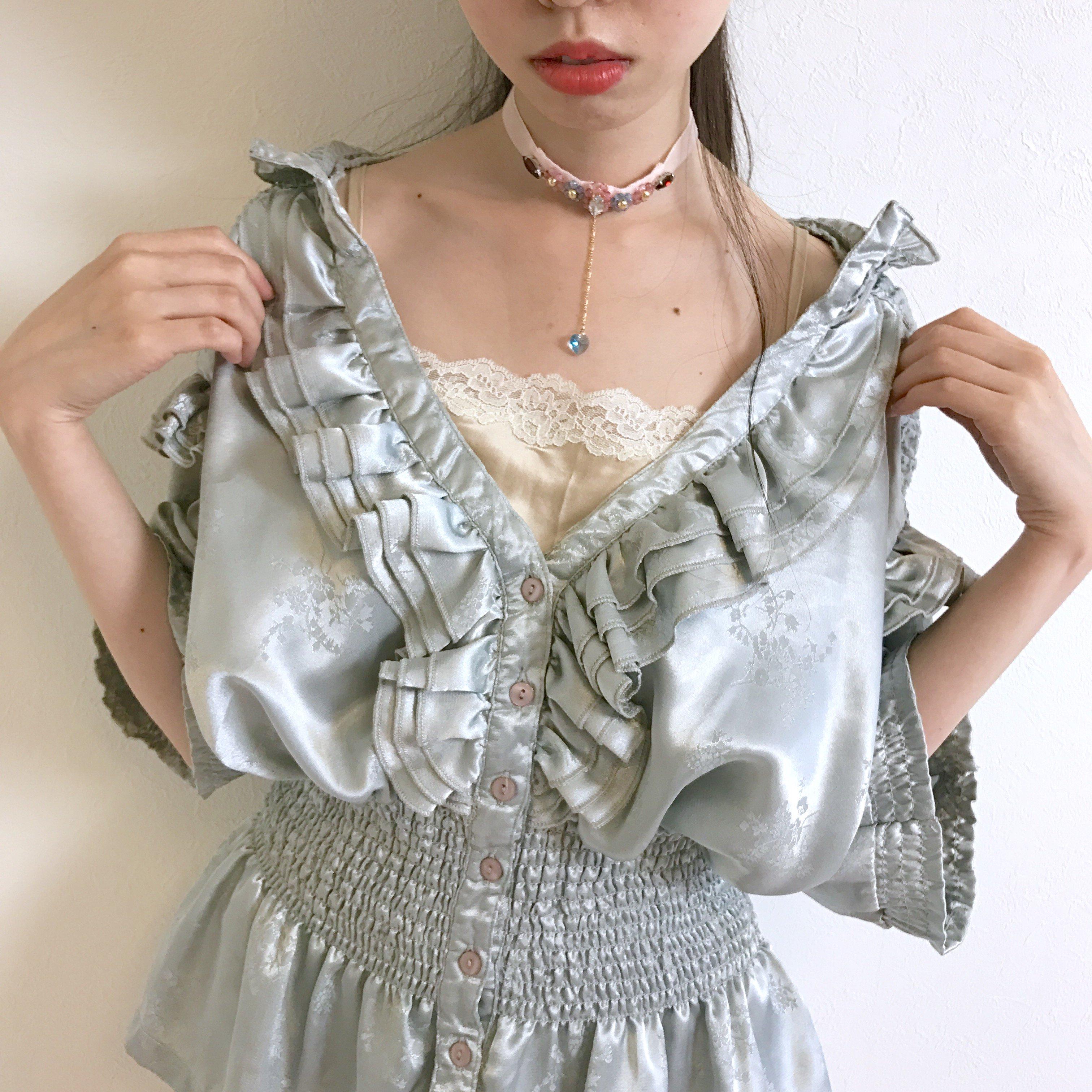 frilled petal shirring blouse