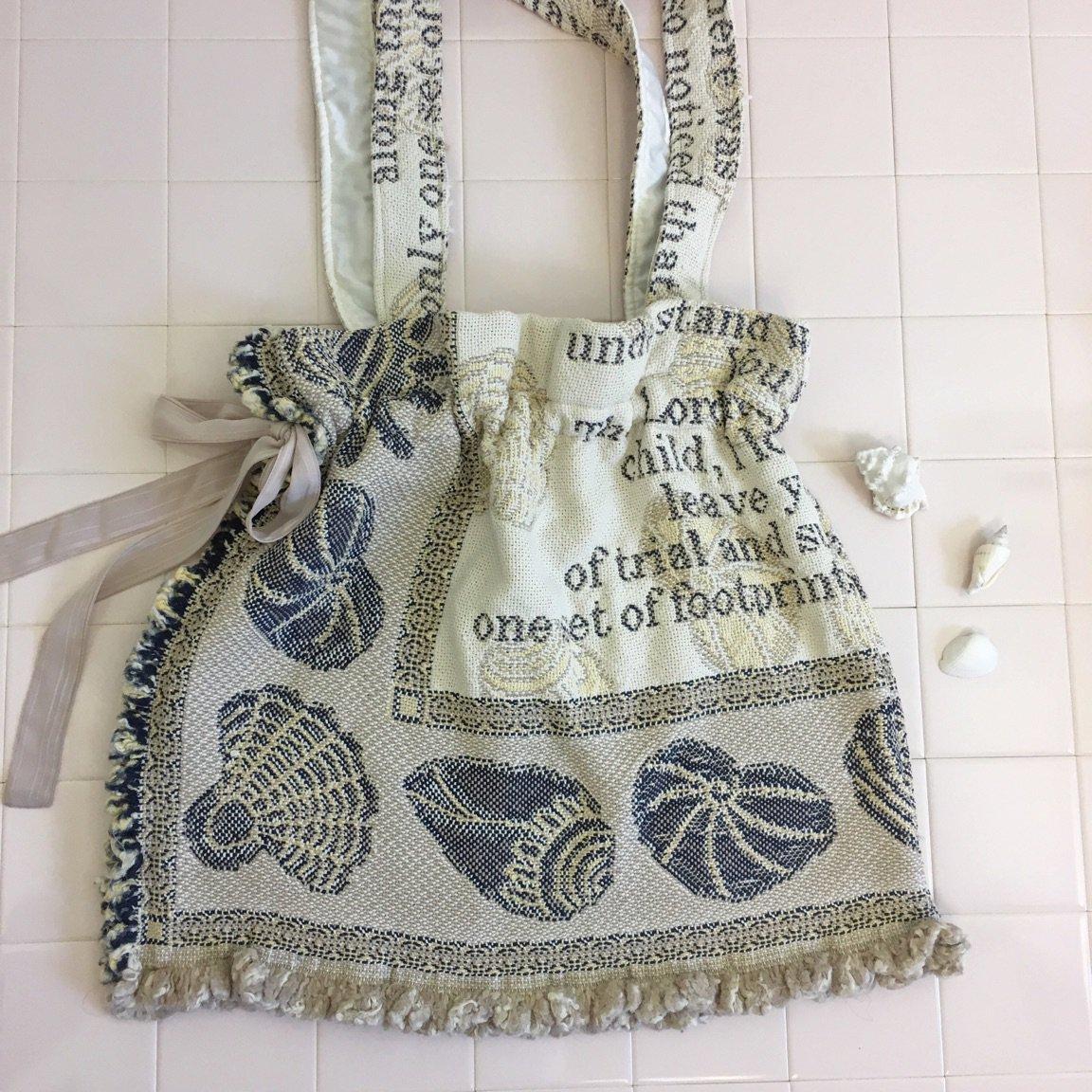 貝殻リメイク巾着トートバッグ
