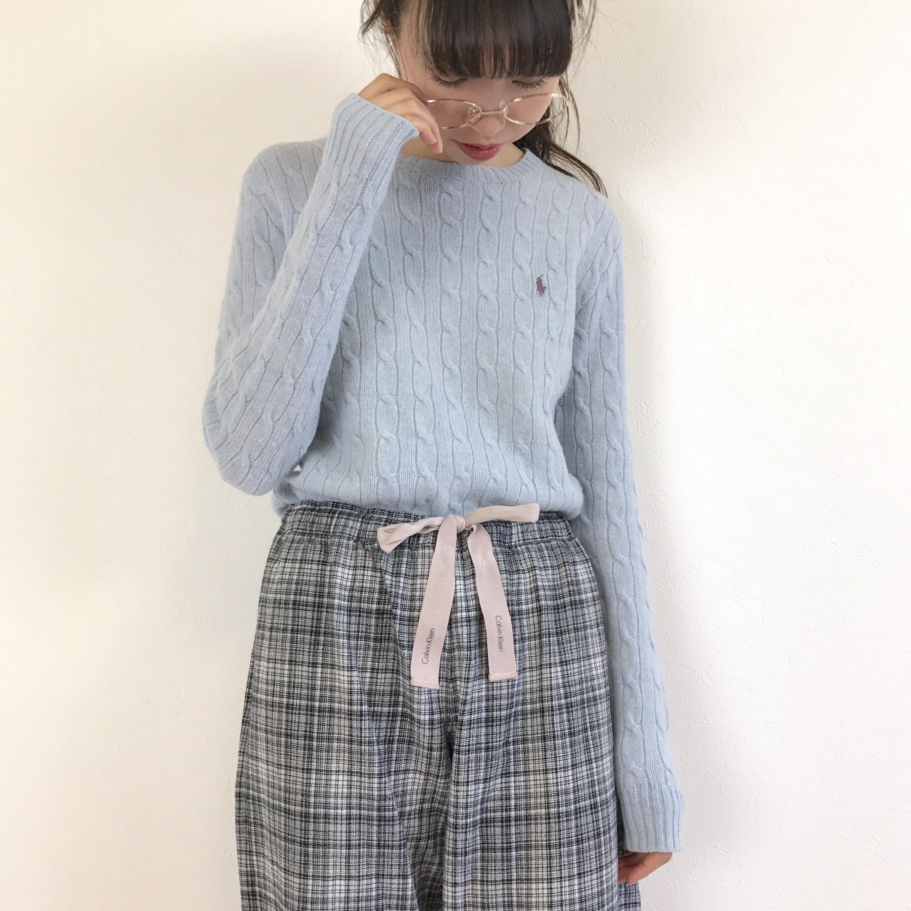 'RALPHL LAUREN SPORTS' pale blue cable knit