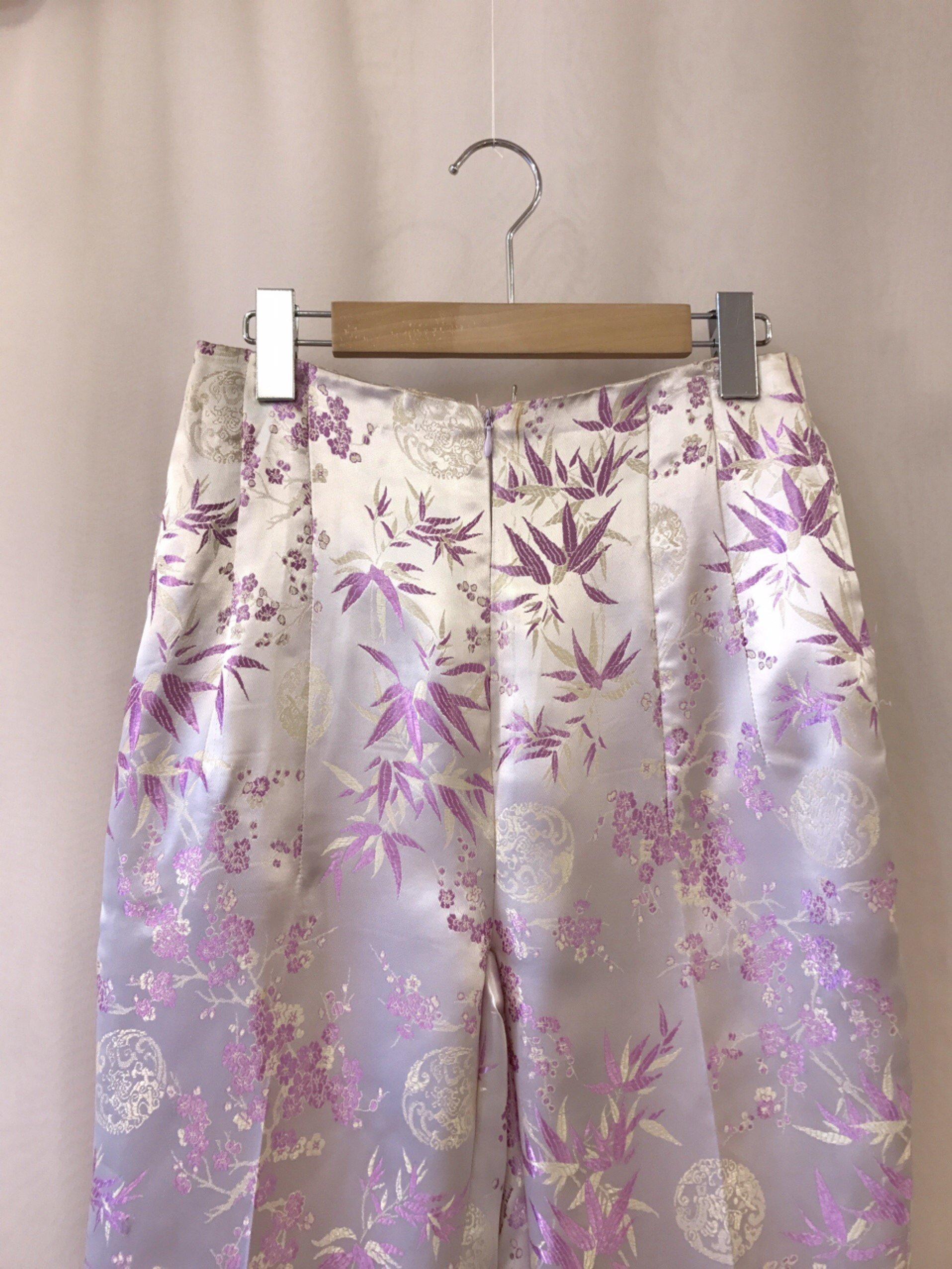 purple satin China pants