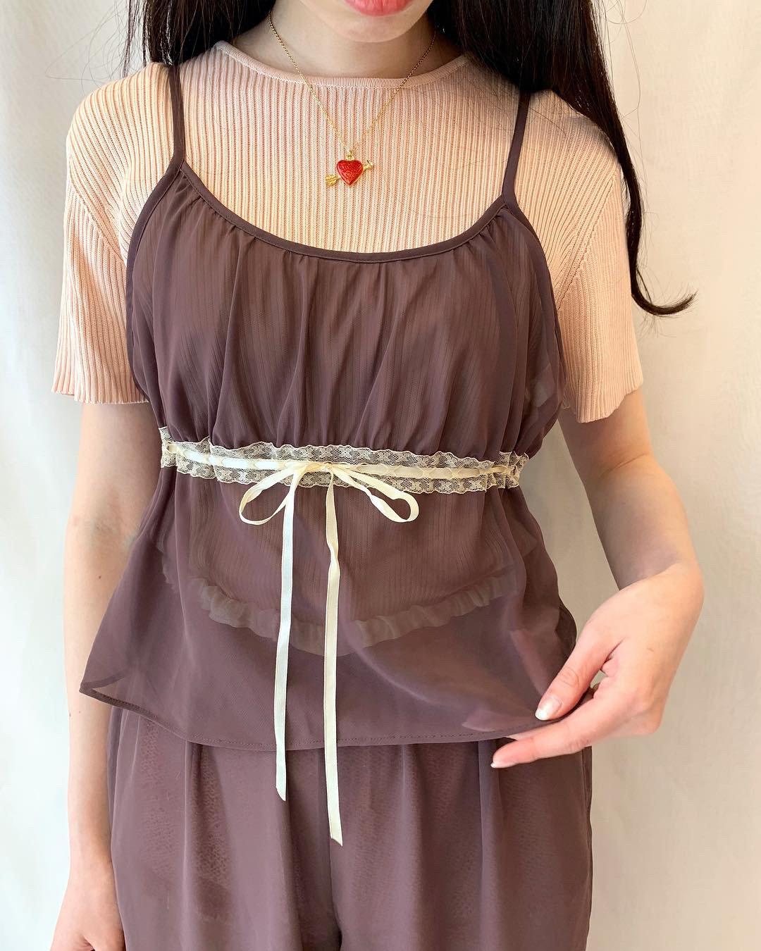 set up sheer brown lingerie