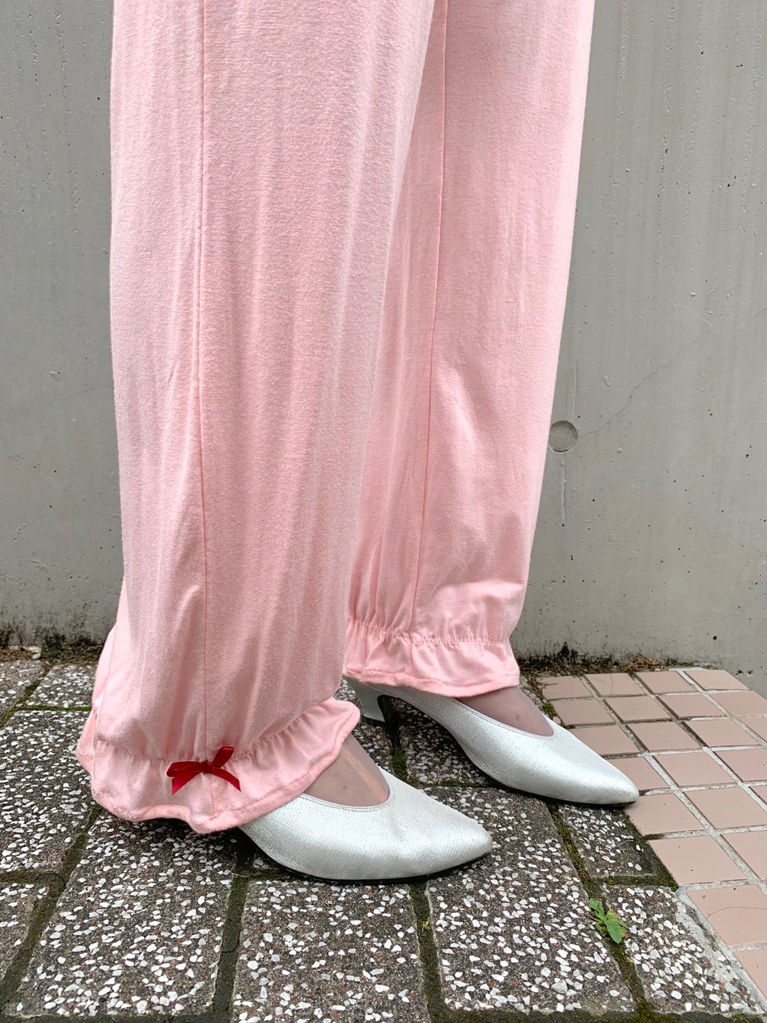 ピンク×ボルドーイージーパンツ