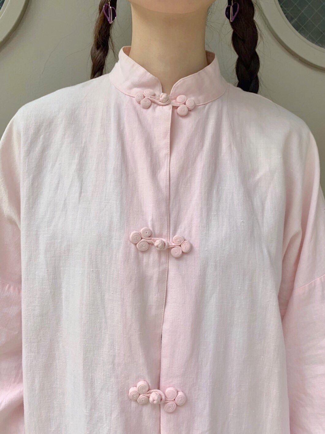 china. pink linen jacket