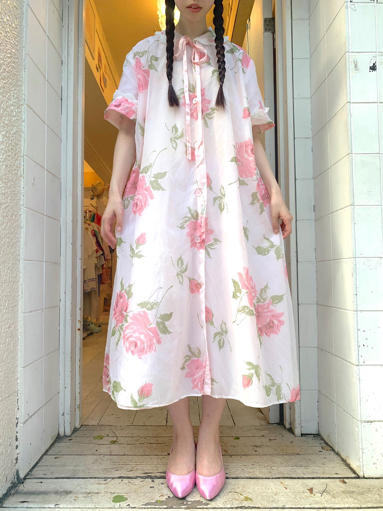 rose pink organdy gown
