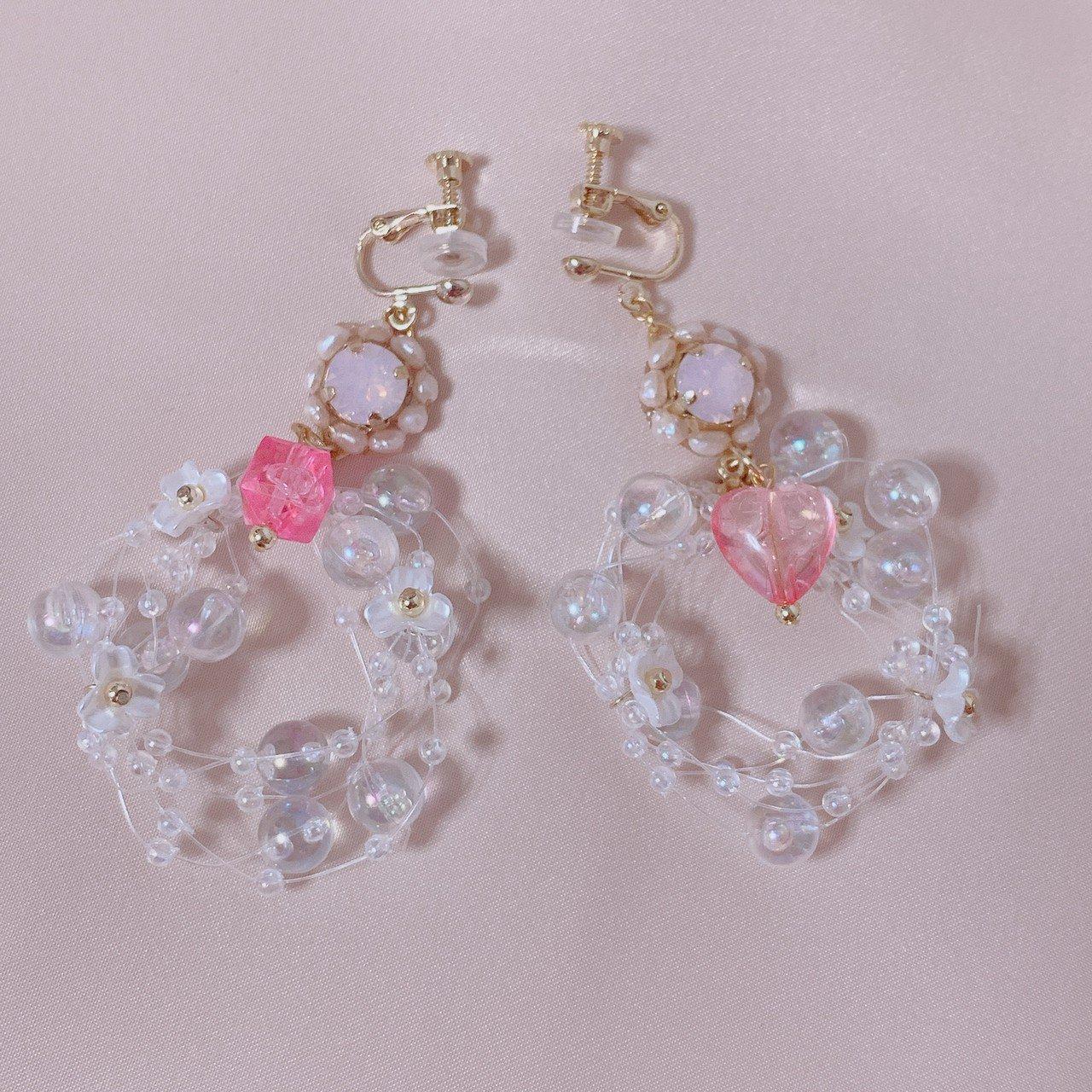 "mimi × tvm ""vintage parts earring"" シャボンカラースワロフスキー(ピンク)"