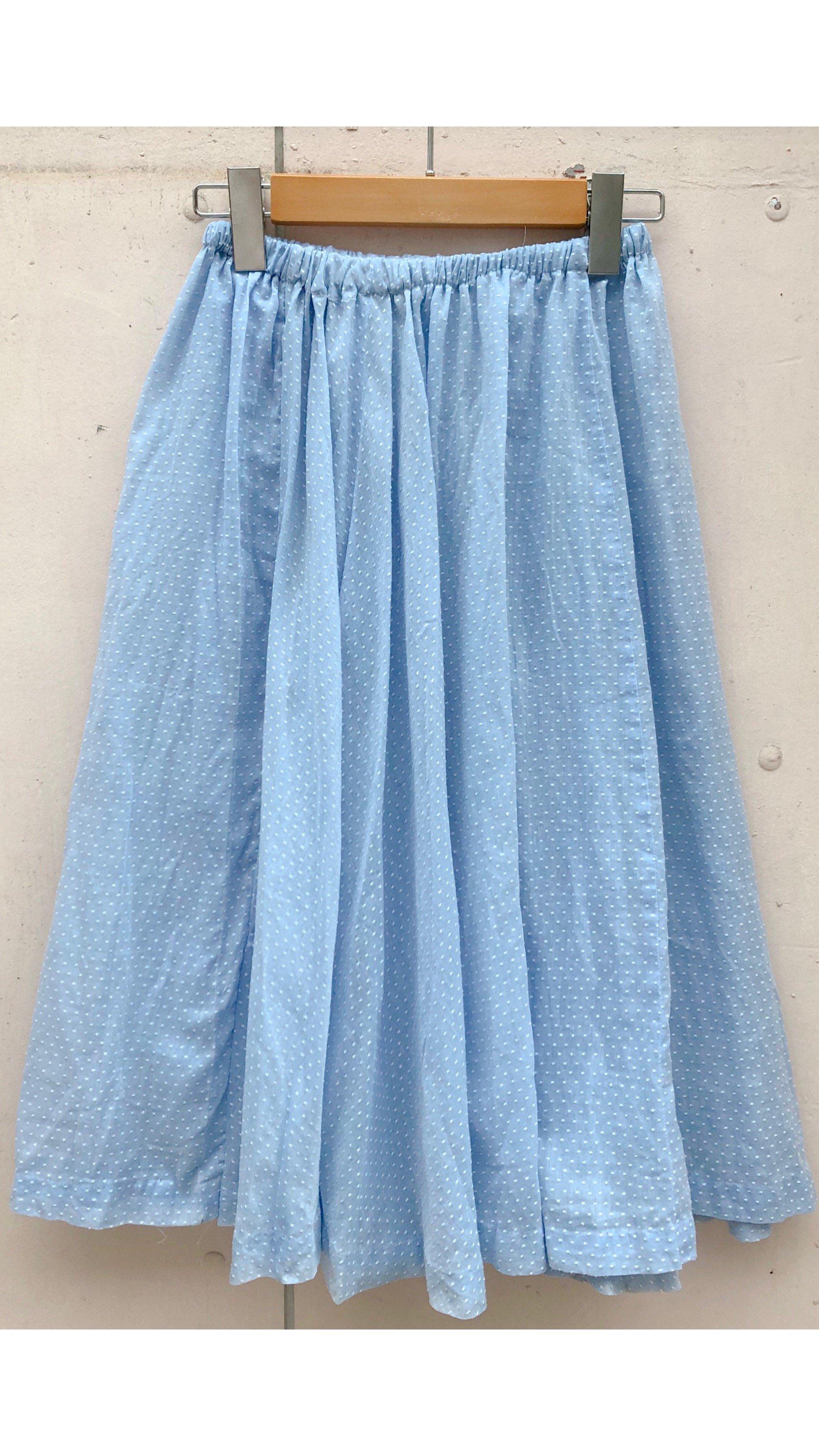 sky blue small dot skirt
