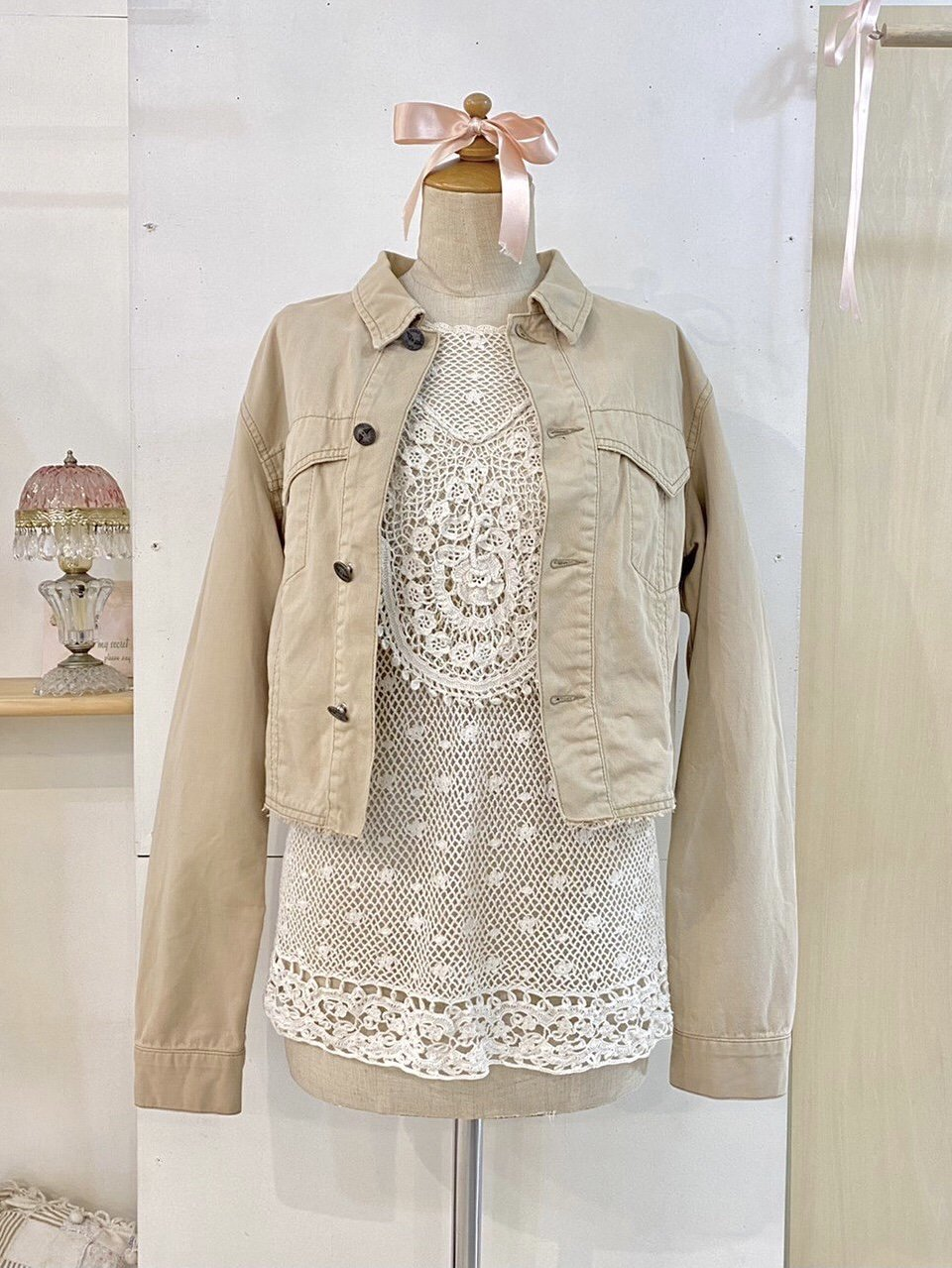 beige jean jacket