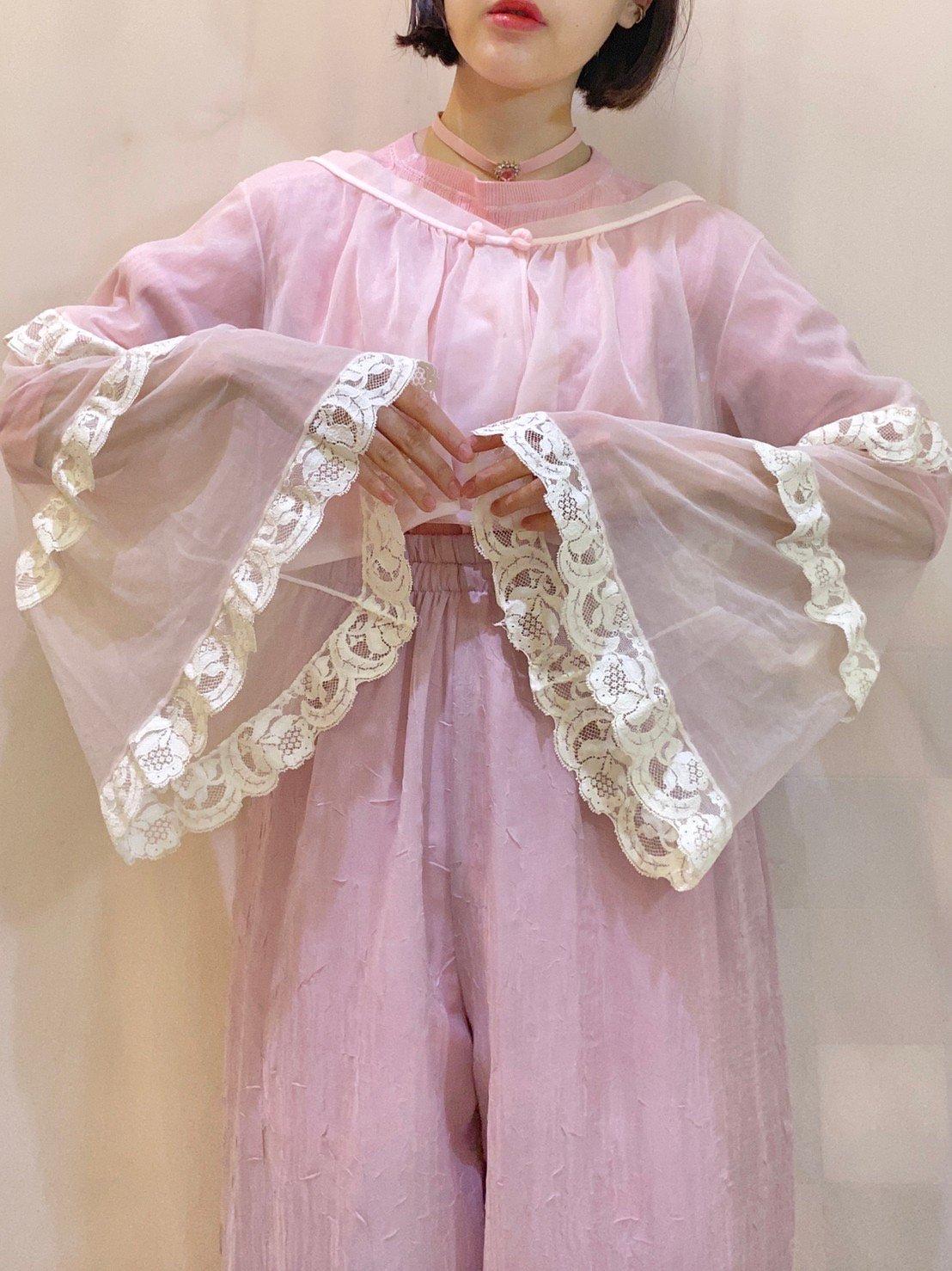 flare sleeve lingerie short gown