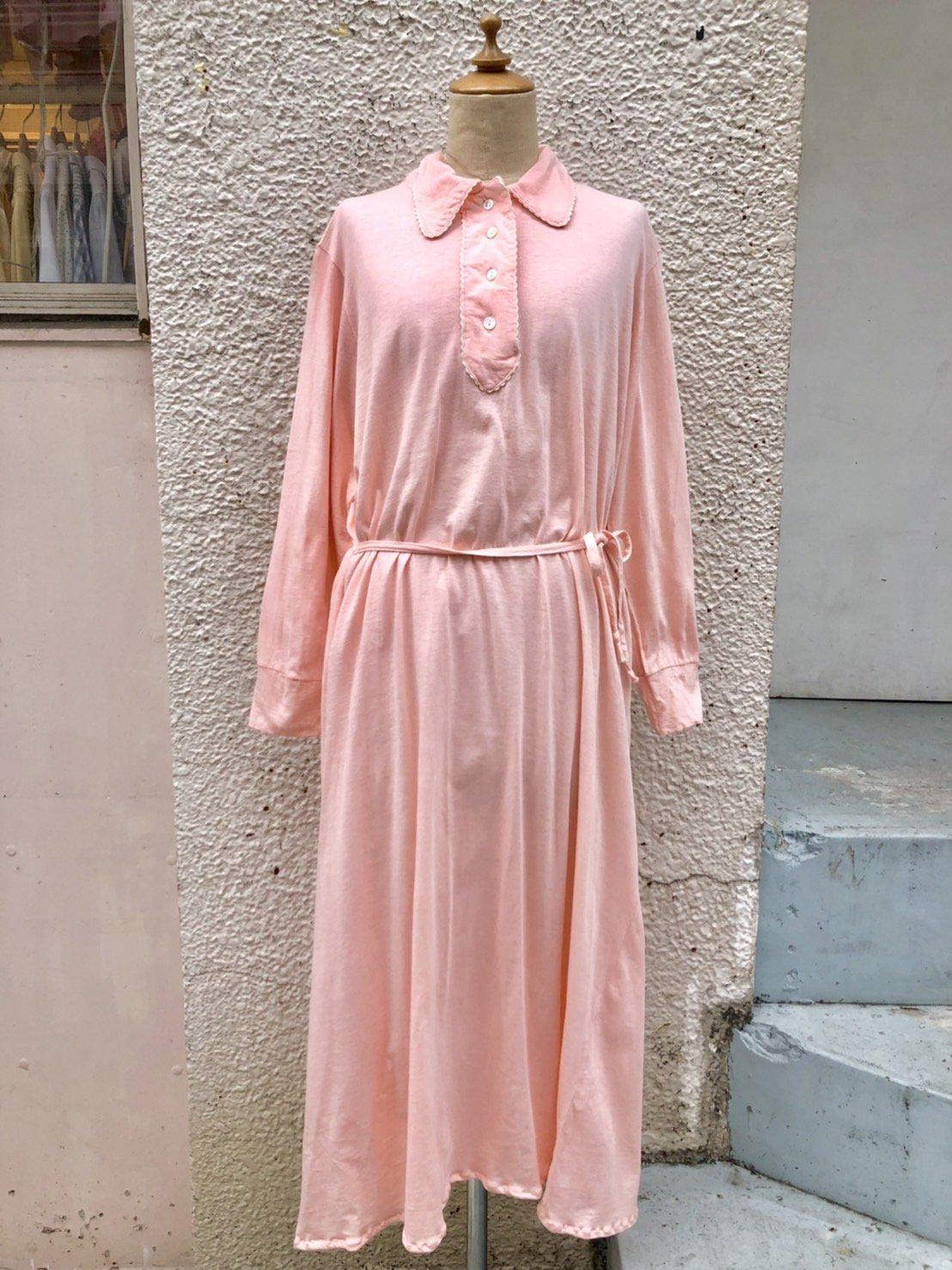 peach pink cotton one-piece
