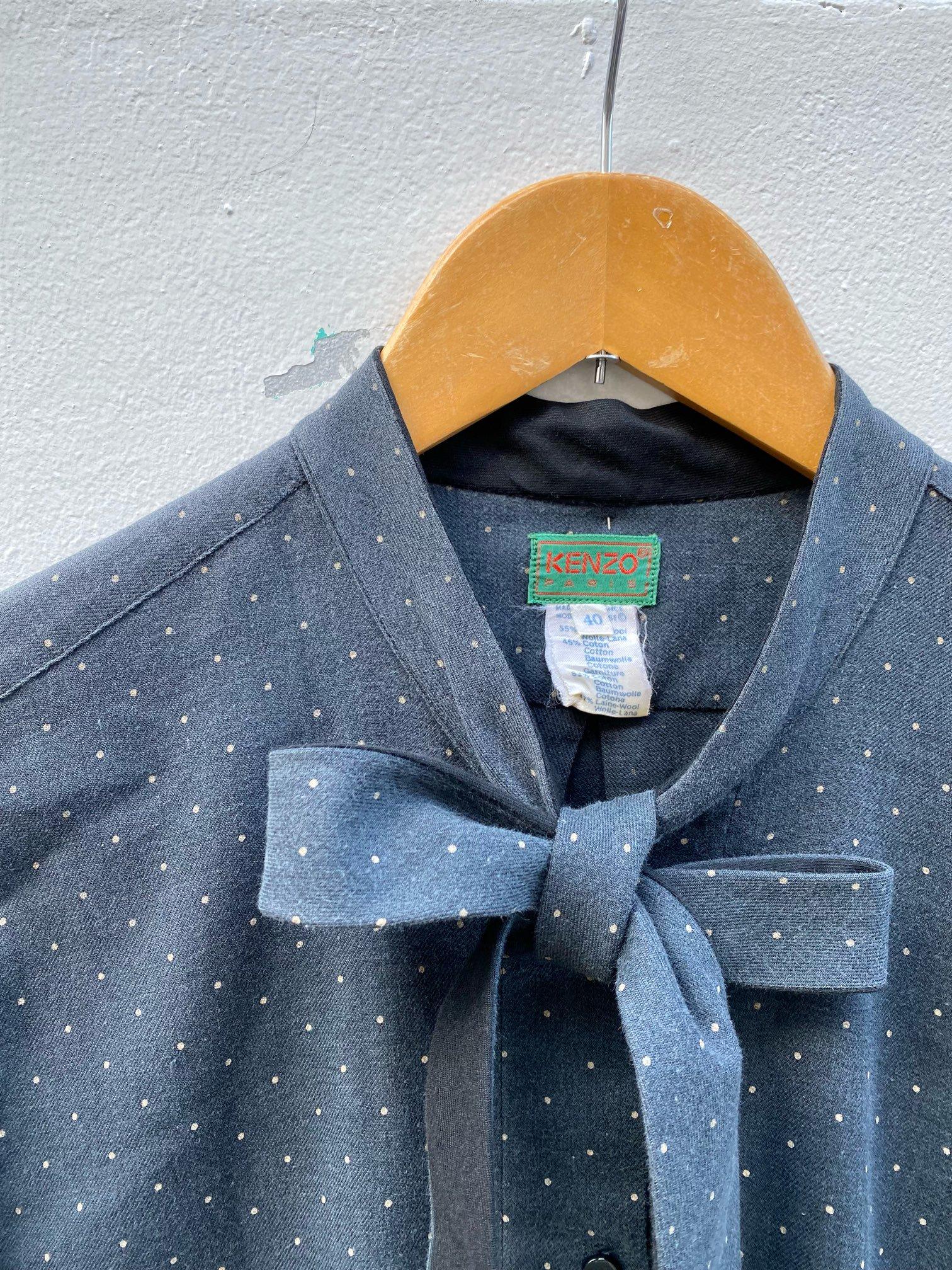 dot ribbon tie blouse