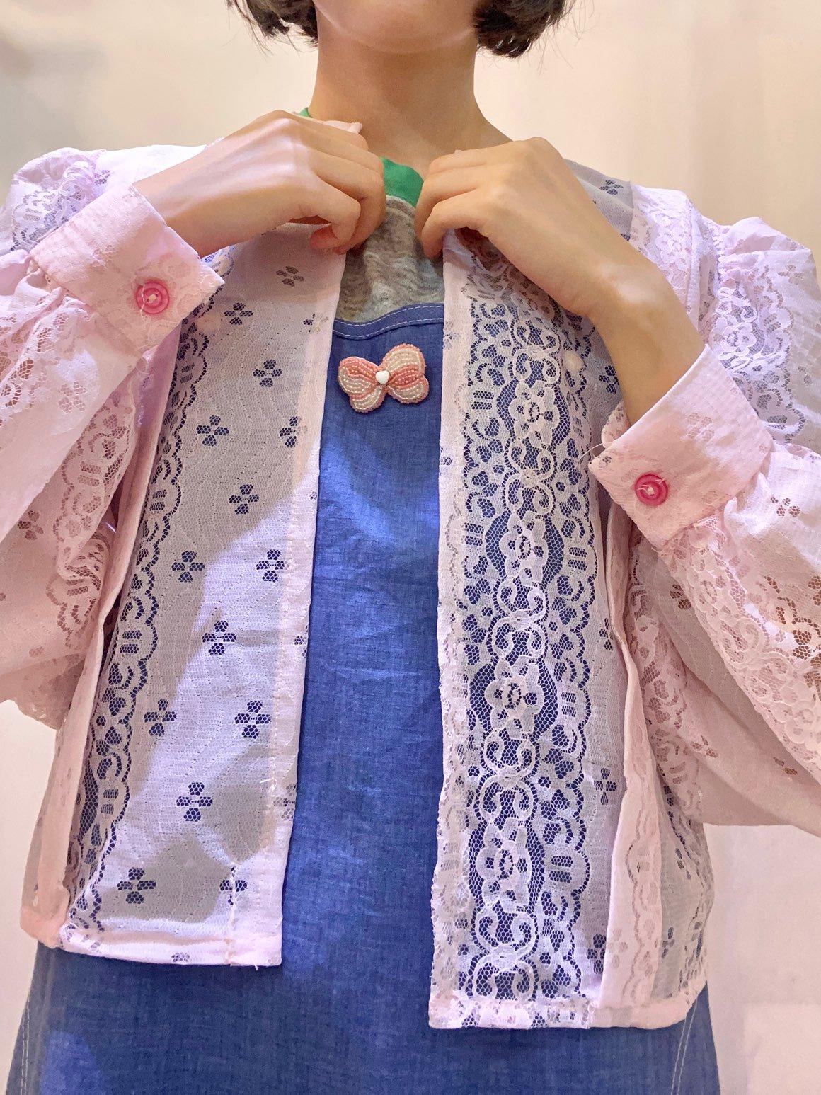 pink lace cardigan