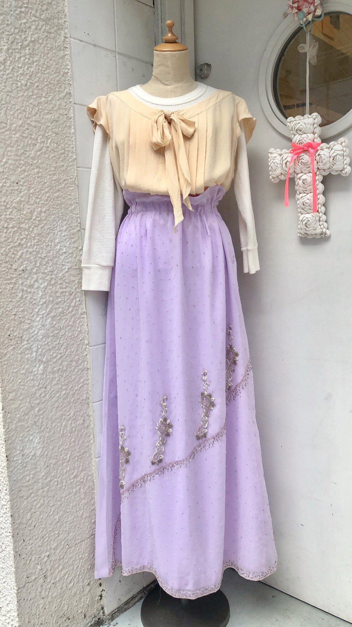 beaded lavender long skirt