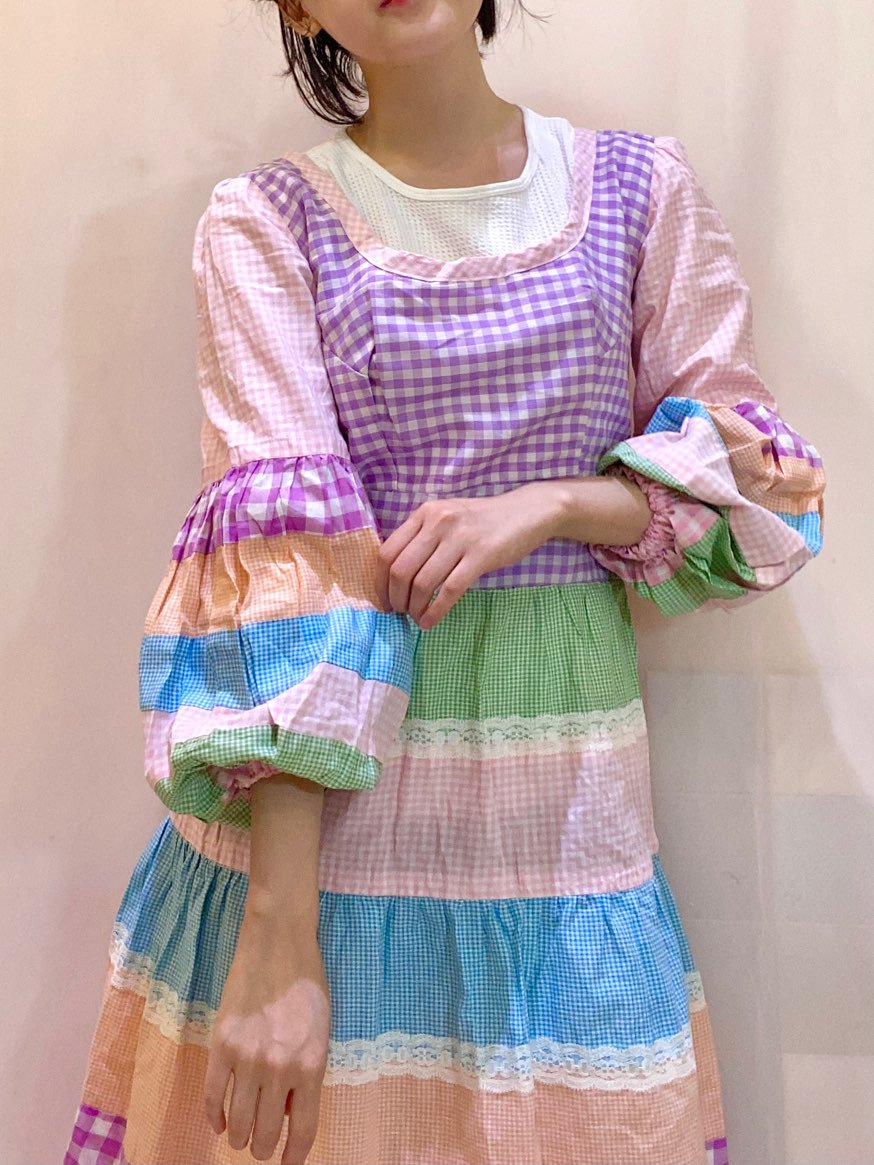colorful gingam check one-piece