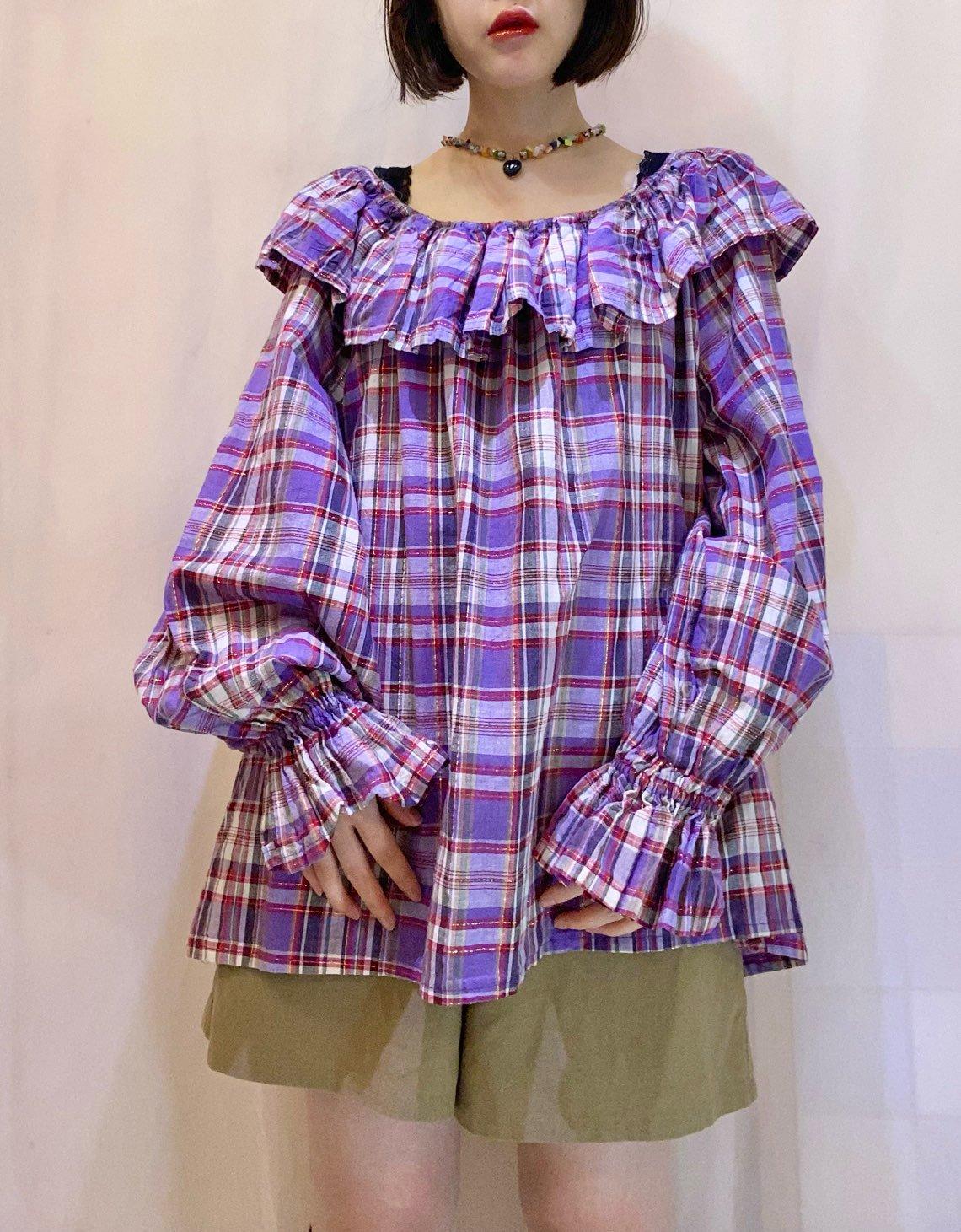 purple check tunic