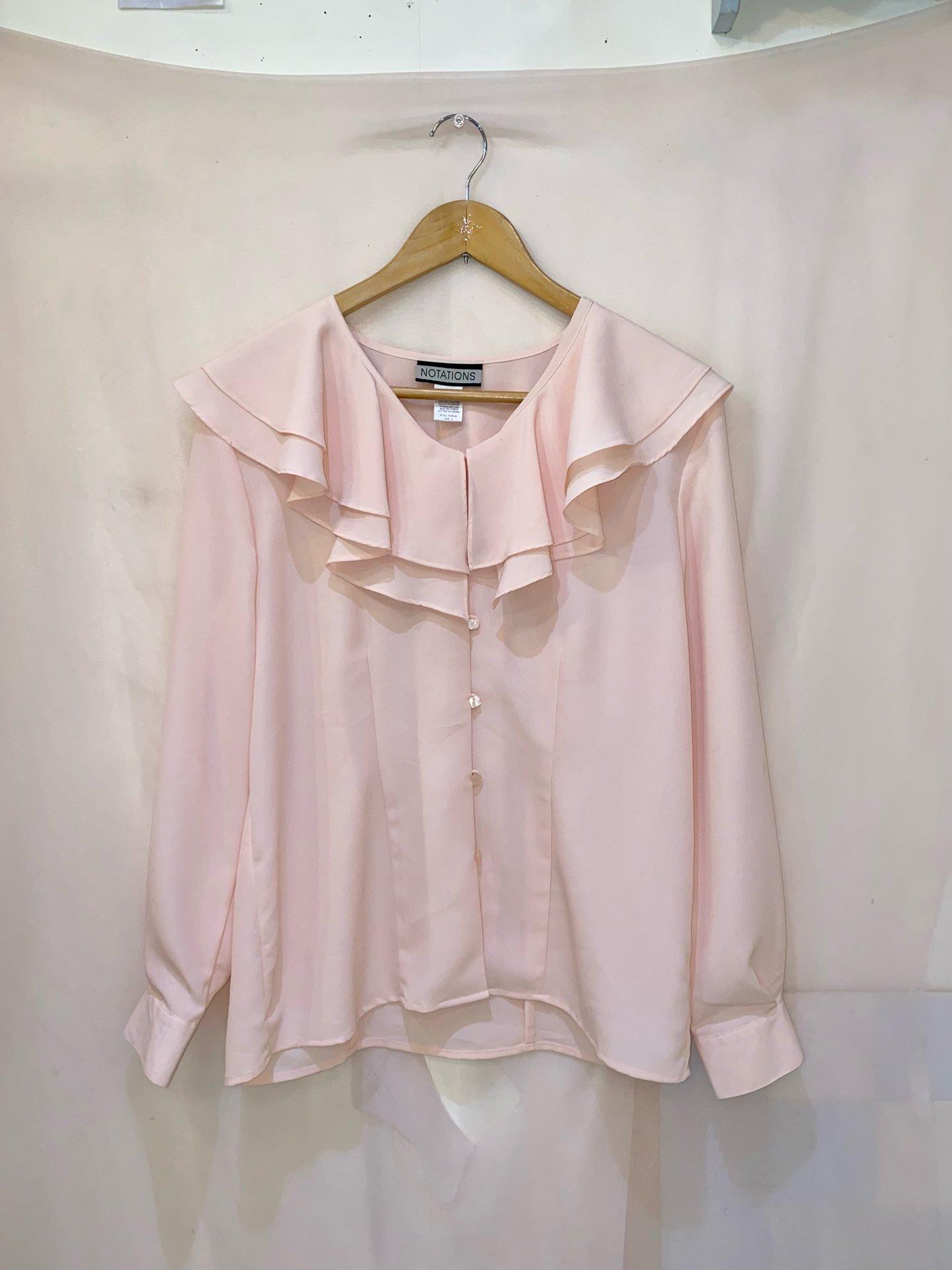 peach pink flare collar blouse