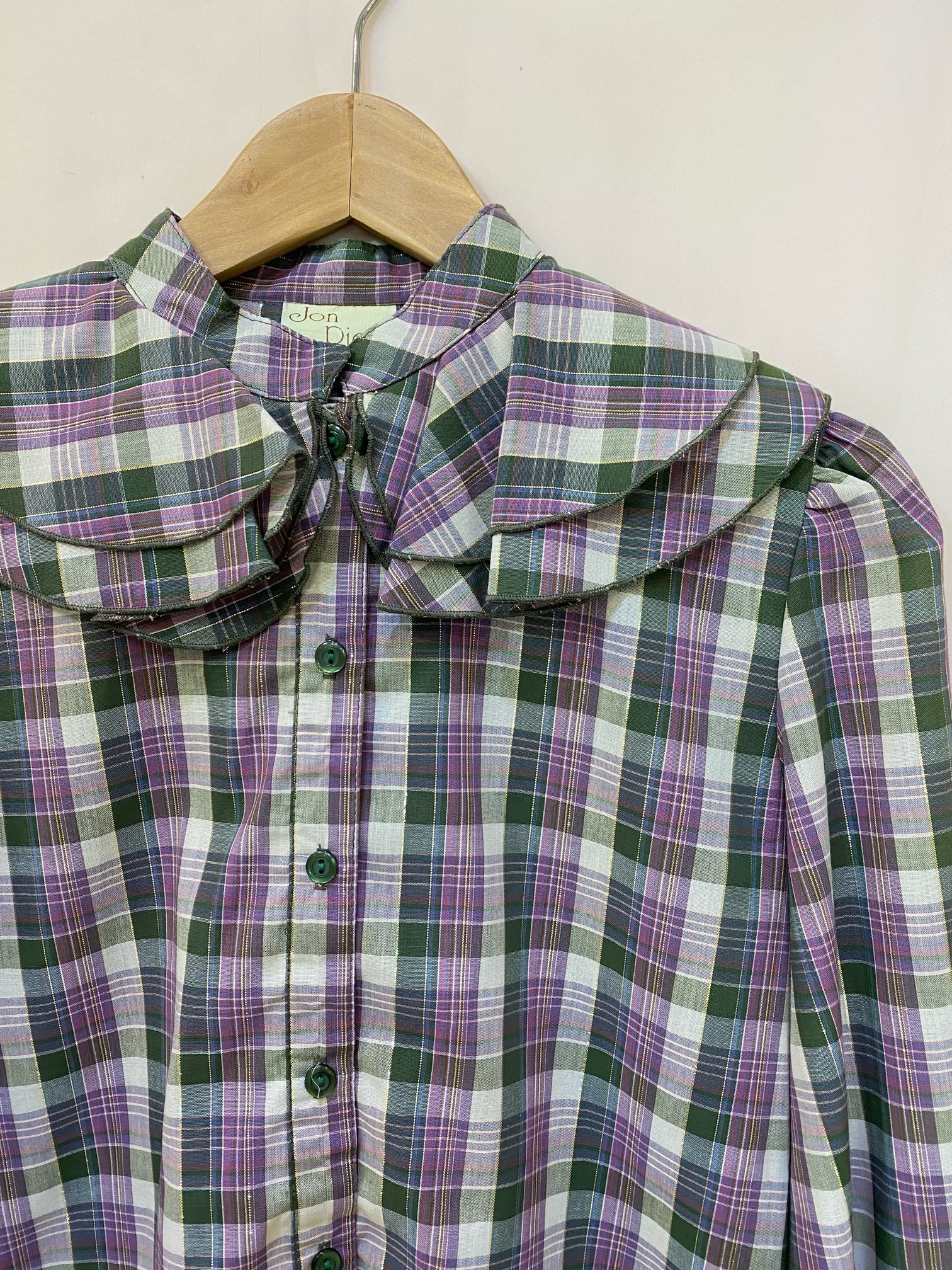 green purple plaid blouse