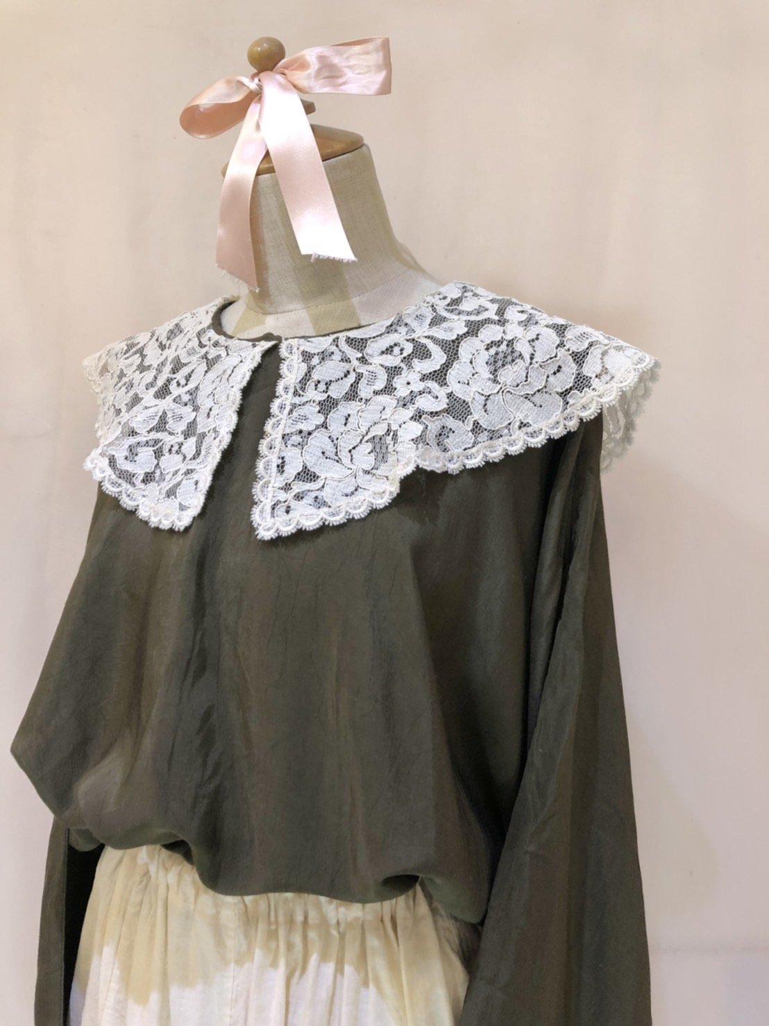 lace collar dolman sleeve blouse