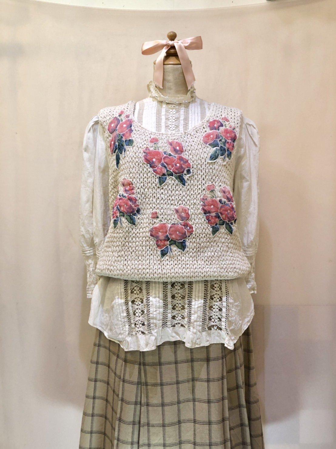flower patchwork knit tops