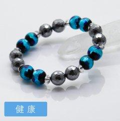 【健康運】<br>爽やかなブルー<br>テラヘルツ&ホタル玉ブレスレット<br>10mm
