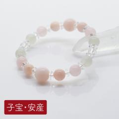 【子宝・安産】<br>出産時のお守りにピンクオパール&モルガナイト<br>10mm 8mm