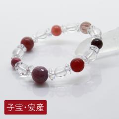 【子宝・安産】8種の天然石使用、ガーネット子宝ブレスレット<br>10mm 8mm