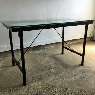 ダイニングテーブル ガラス天板+アイアン脚フレーム* W1320xD720xH768mm(IFN-79G)