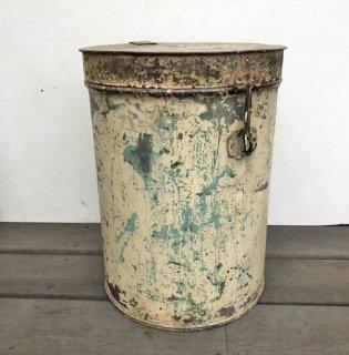アイアン ビンテージ キャニスター 円筒形 ふた付き容器 H400mm 送料無料 (UBX-114)
