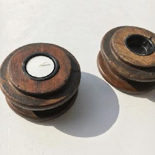 キャンドル ホルダー : ビンテージ / 木製 糸巻き*【SDGs】(DIX-11)