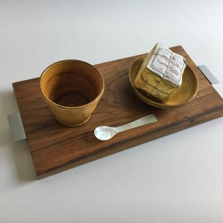 チーク + アイアン テーブル トレイ / ココナツオイル仕上 / W-M 39cm (OIR-081)