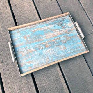 【BLUE新掲載】トレイ M ボート古材 + アイアン W385mm 【SDGs】 (CBB-018)