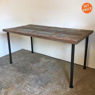 【セットプライス】テーブル ボート古材天板 +ブラックアイアン脚 / 1350x750x730mm 送料無料 (IFS-06)