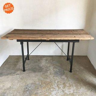【セットプライス】ダイニングテーブル 古材天板 +アイアンスタンド* / 1750x800x810mm 送料無料 (IFS-18)