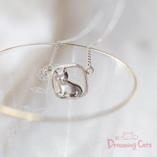 猫のシルバーネックレス・蜜蝋鋳造・モモ
