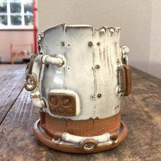廃墟の工場 スチームパンクプランター樽型 白萩 024