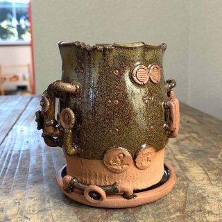 廃墟の工場 スチームパンクプランター樽型 蕎麦釉 023