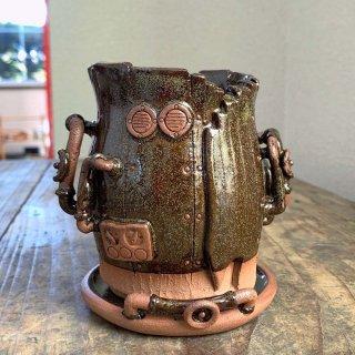 廃墟の工場 スチームパンクプランター樽型 蕎麦釉 022