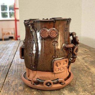 廃墟の工場 スチームパンクプランター樽型 鉄赤 021