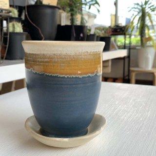 植木鉢受け皿セット 長鉢 藍色