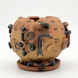 廃墟の工場 スチームパンクプランター 素焼 ( Mサイズ ) 1101