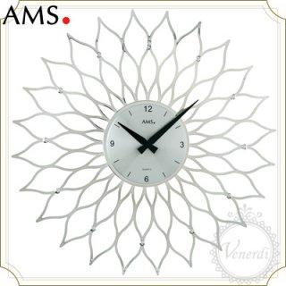 AMSアイアン風フラワー掛け時計シルバー