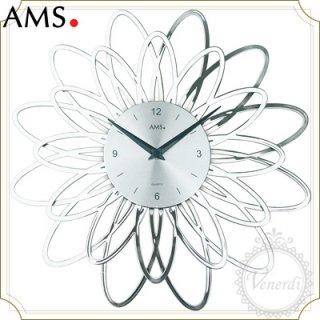 【予約販売中】AMSアイアン風アーチフラワー掛け時計シルバー