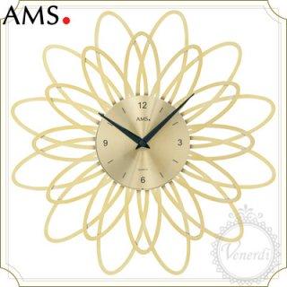 【予約販売中】AMSアイアン風アーチフラワー掛け時計ゴールド