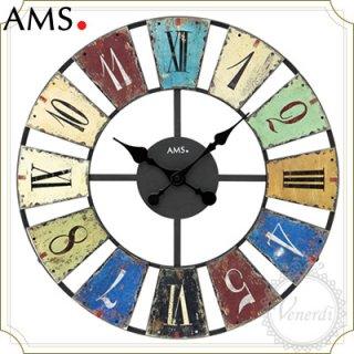 【予約販売中】AMSアイアンデザイン カラフルレトロ掛け時計