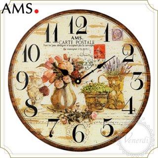 【予約販売中】AMSレトロなフラワーベース掛け時計