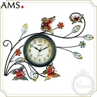AMSアンティーク風アイアンバタフライ掛け時計