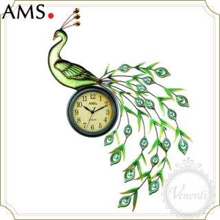 【予約販売中】AMSゴージャスアイアン孔雀アンティーク風掛け時計