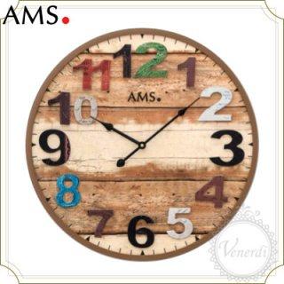 【予約販売中】AMS木目調ナンバーカラフル掛け時計ブラウン