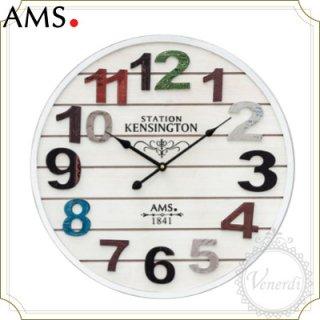 【予約販売中】AMS白地木目調ナンバーカラフル掛け時計ホワイト